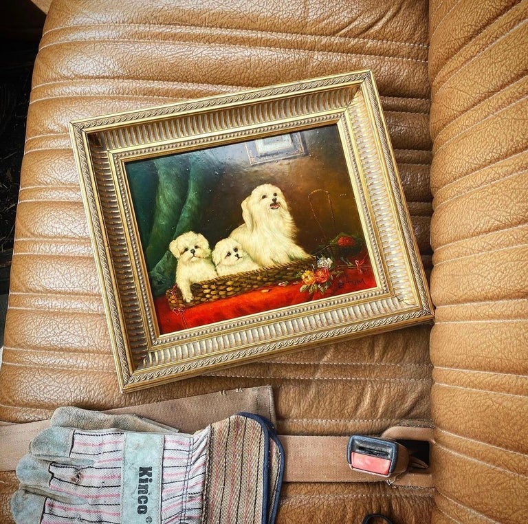 A fine English piece of artwork featuring a Maltese dog and her two small pups. This piece is framed in a giltwood frame and signed by the artist at the bottom right. The piece is on wood and highly lacquered.   The subject of this still life is a