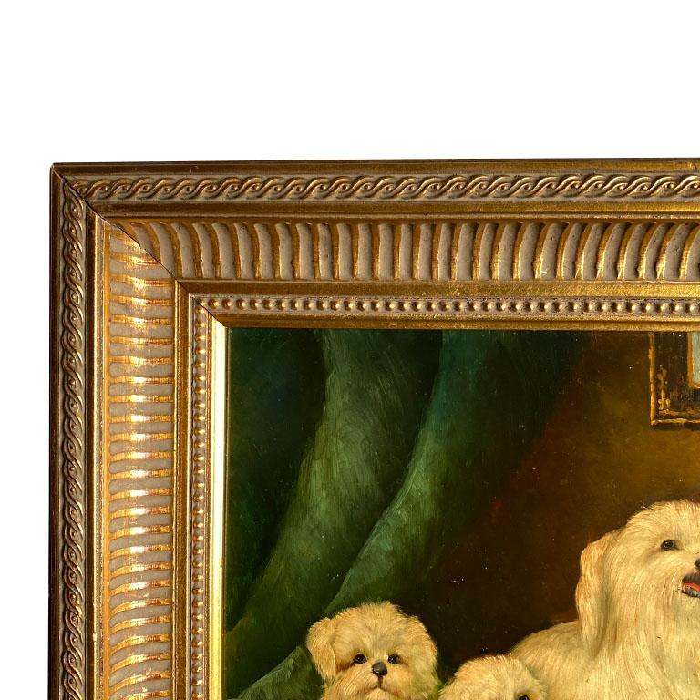American Classical Antique English Traditional Framed Gilt Wood Maltese Dog Painting, Signed For Sale