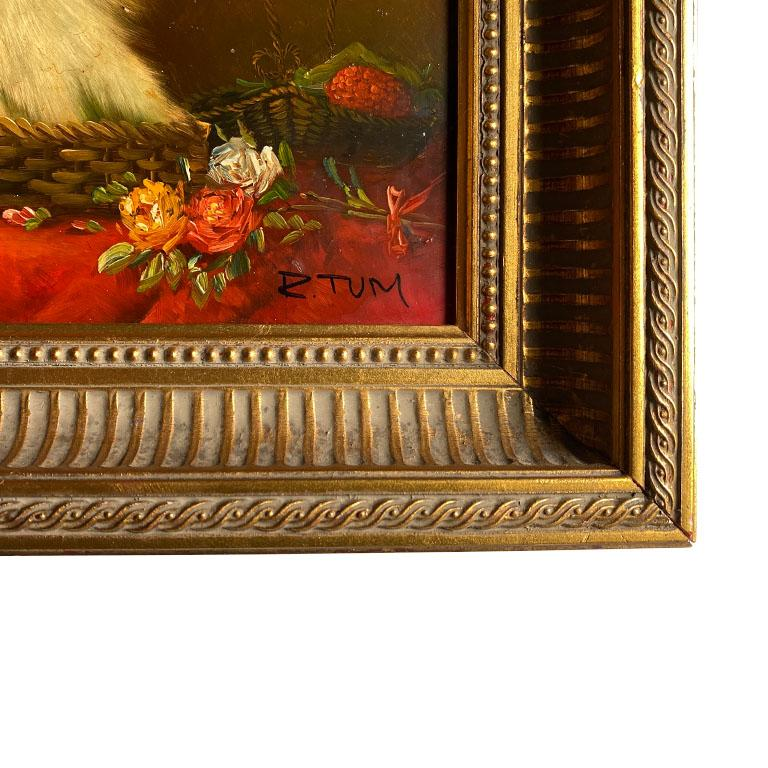 Antique English Traditional Framed Gilt Wood Maltese Dog Painting, Signed For Sale 2