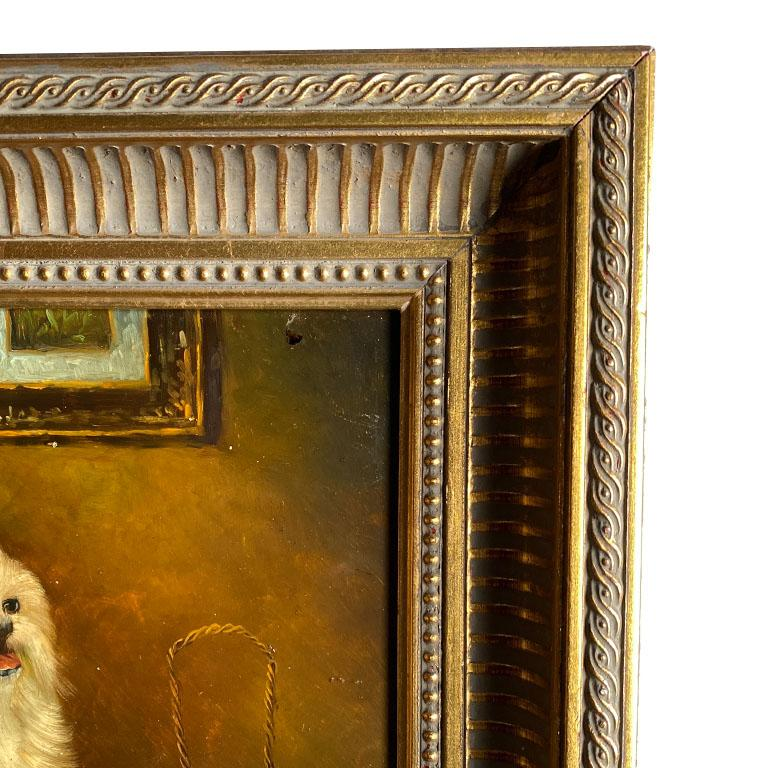 Antique English Traditional Framed Gilt Wood Maltese Dog Painting, Signed For Sale 3