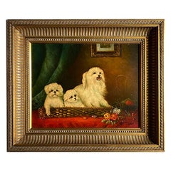 Antique English Traditional Framed Gilt Wood Maltese Dog Painting, Signed