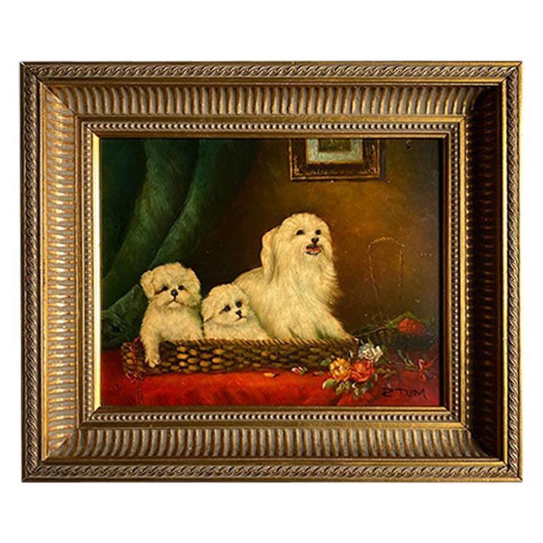 Antique English Traditional Framed Gilt Wood Maltese Dog Painting, Signed For Sale