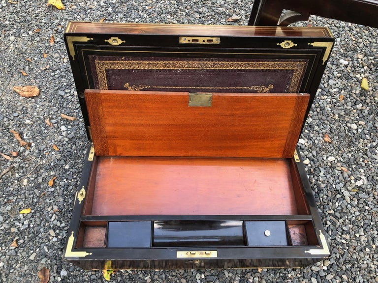 Antique English Traditional Lap Desk on Custom Stand For Sale 8