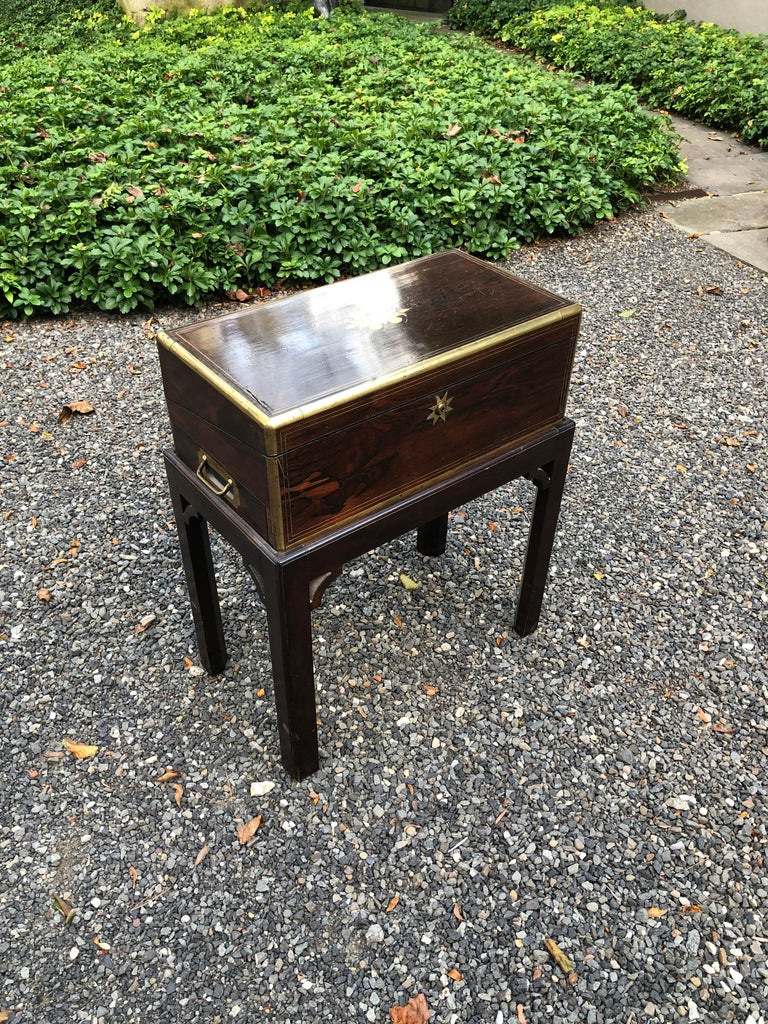 Mahogany Antique English Traditional Lap Desk on Custom Stand For Sale