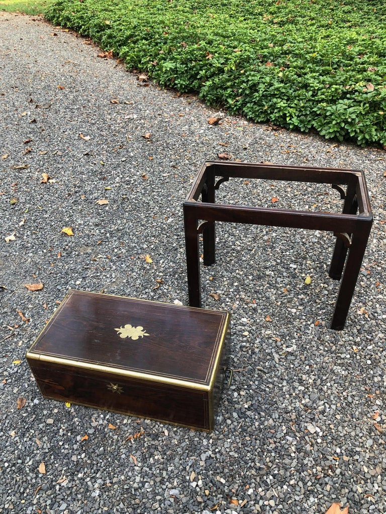 Antique English Traditional Lap Desk on Custom Stand For Sale 2