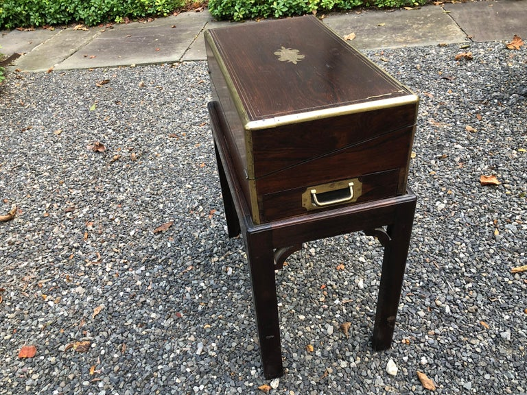 Antique English Traditional Lap Desk on Custom Stand For Sale 3