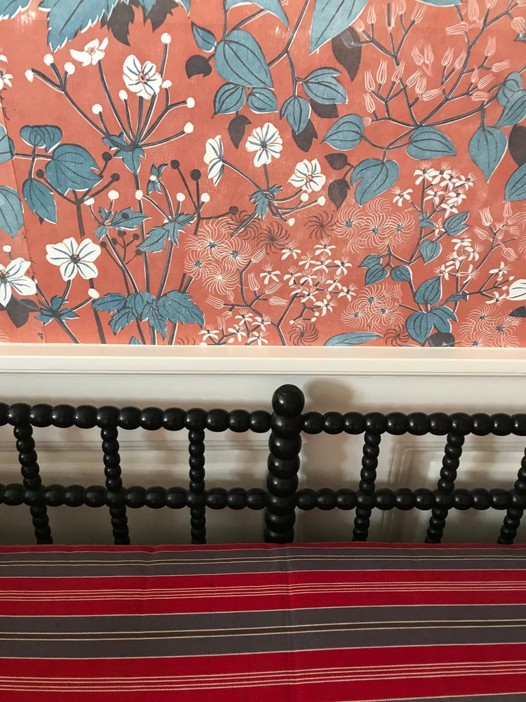 Mid-19th Century Antique English Two-Seat Bobbin Bench with Pillow in Swedish Ticking, 1830s For Sale