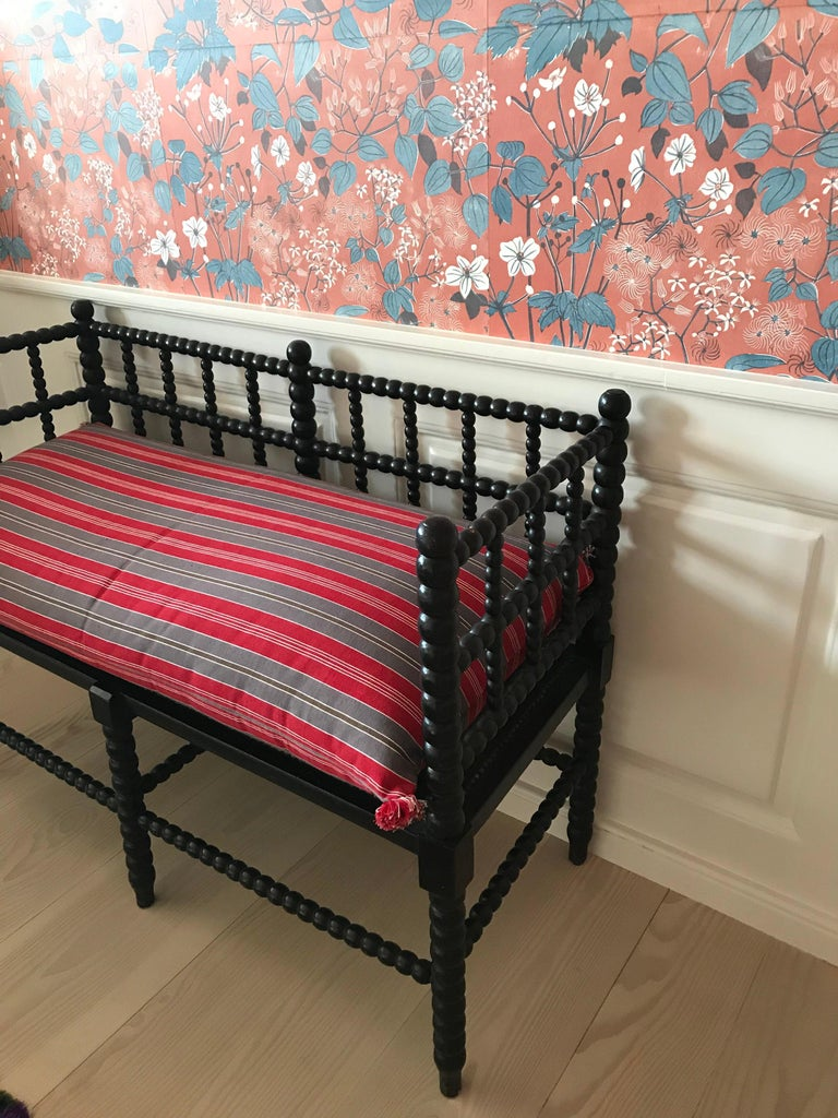 Other Antique English Two-Seat Bobbin Bench with Pillow in Swedish Ticking, 1830s For Sale