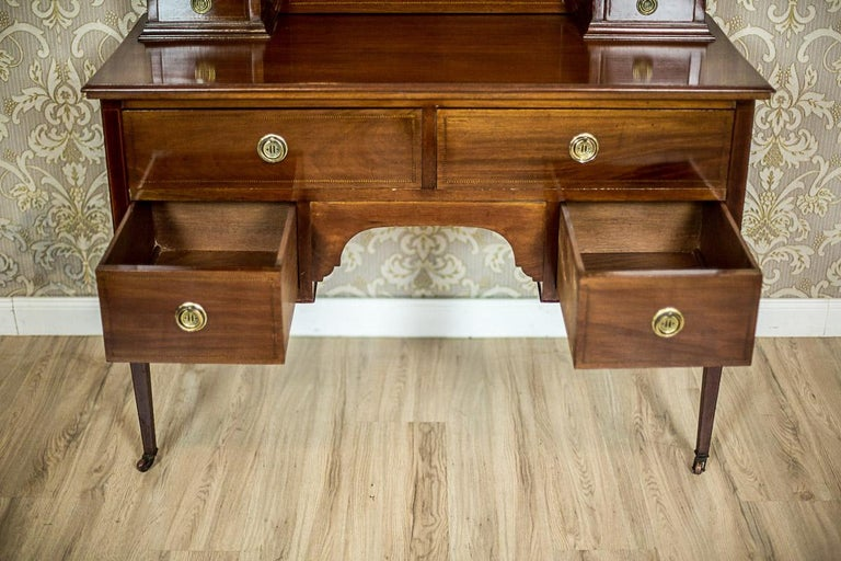 Antique English Vanity Veneered with Mahogany, circa 1890 15