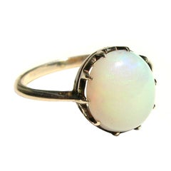 Antique English Victorian 9 C Karat gold Claw set Opal Ring