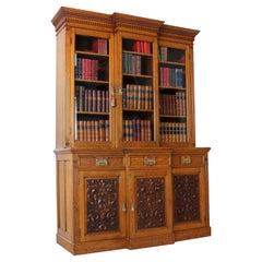 Antique English Victorian Art Nouveau Oak Breakfront Bookcase Display Cabinet