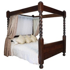 Antique English Victorian Arts & Crafts Oak Four Poster Bed