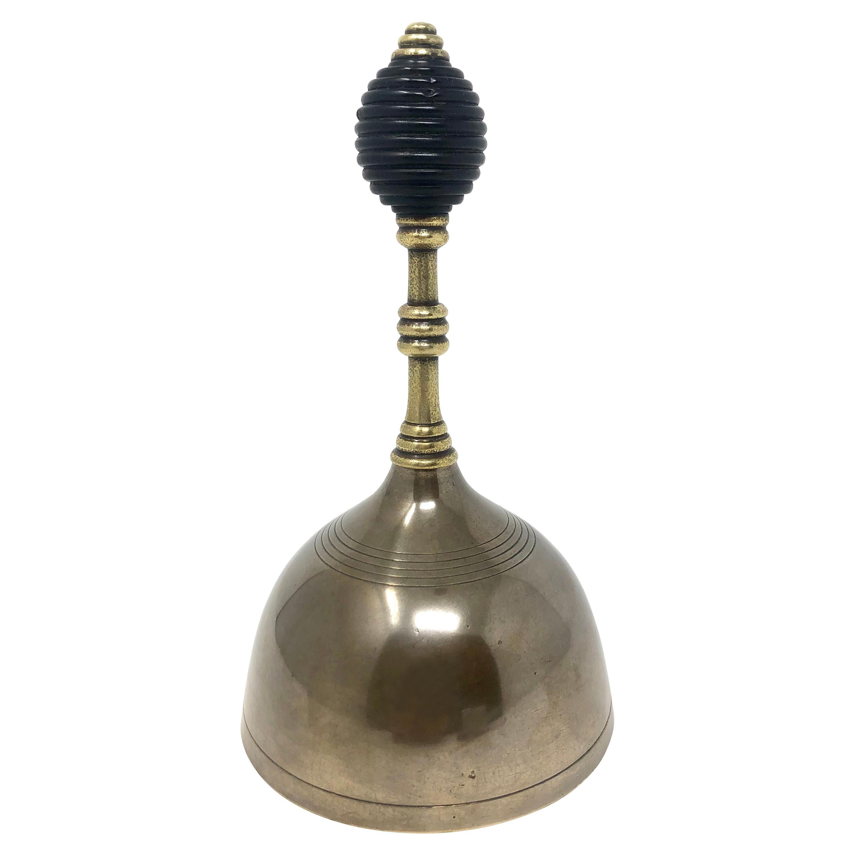 """Antique English Victorian """"Beehive"""" Handle Brass Bell"""