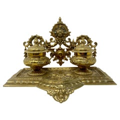 Antique English Victorian Brass Inkwell, Circa 1860-1870
