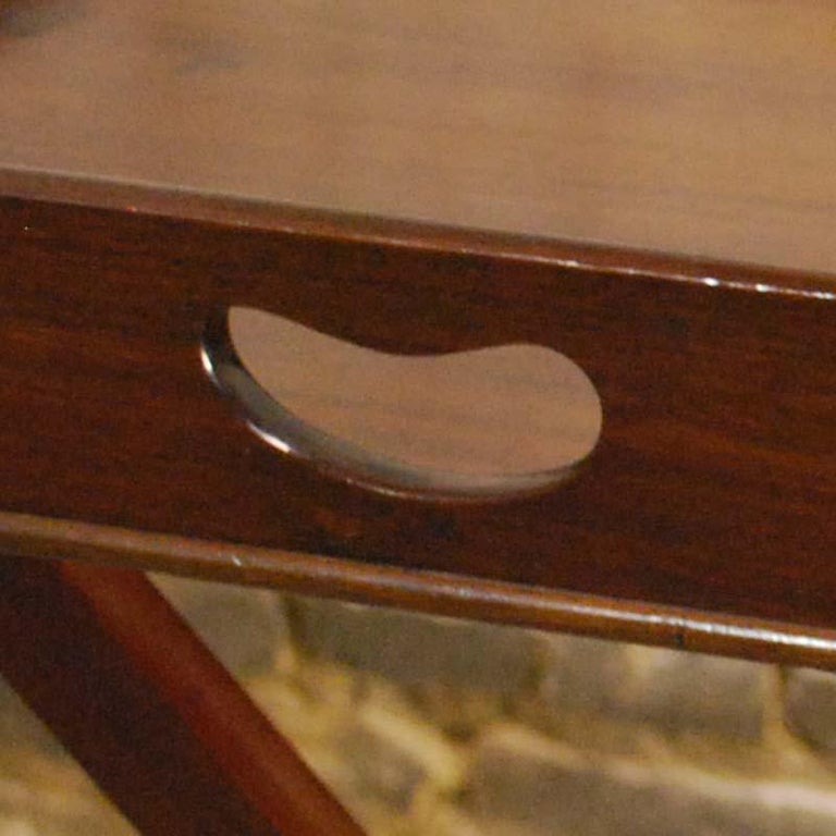 Antique English Victorian Butler's Tray Table in Mahogany on Folding Stand For Sale 5