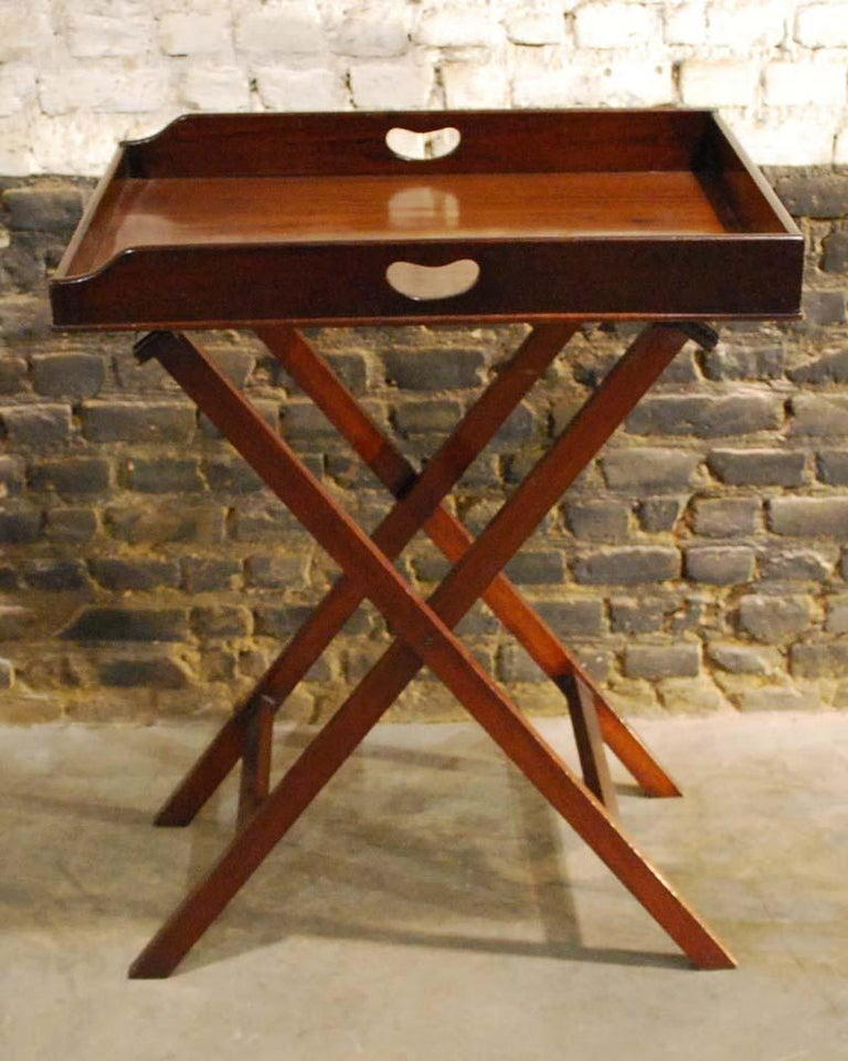 Late Victorian Antique English Victorian Butler's Tray Table in Mahogany on Folding Stand For Sale