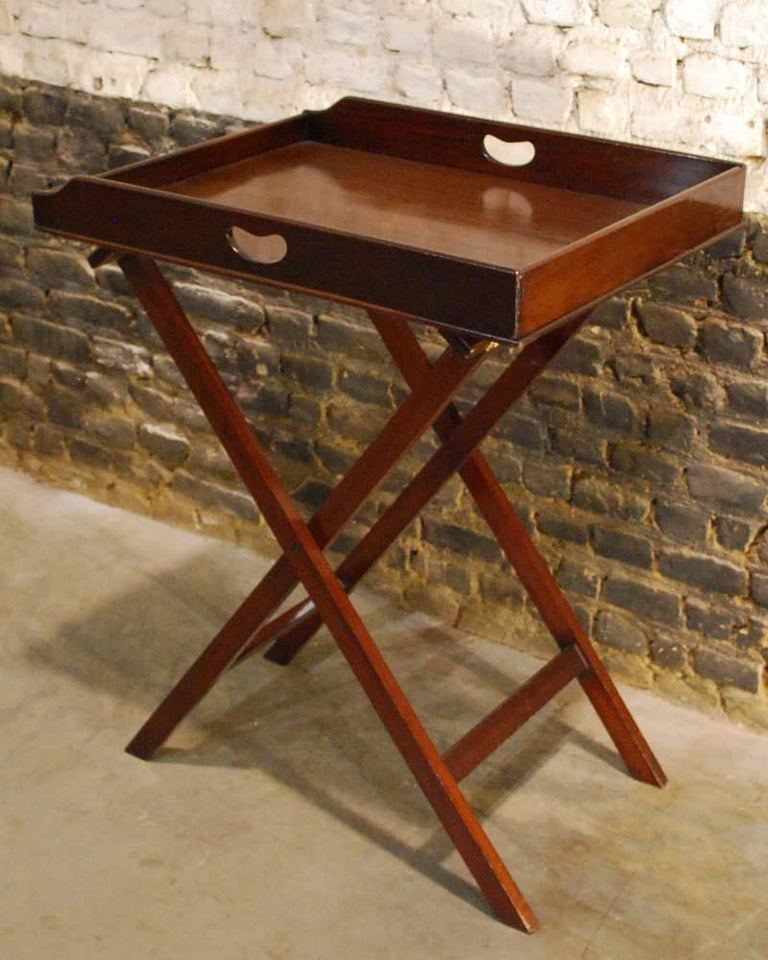 French Antique English Victorian Butler's Tray Table in Mahogany on Folding Stand For Sale