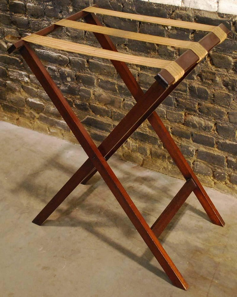 20th Century Antique English Victorian Butler's Tray Table in Mahogany on Folding Stand For Sale