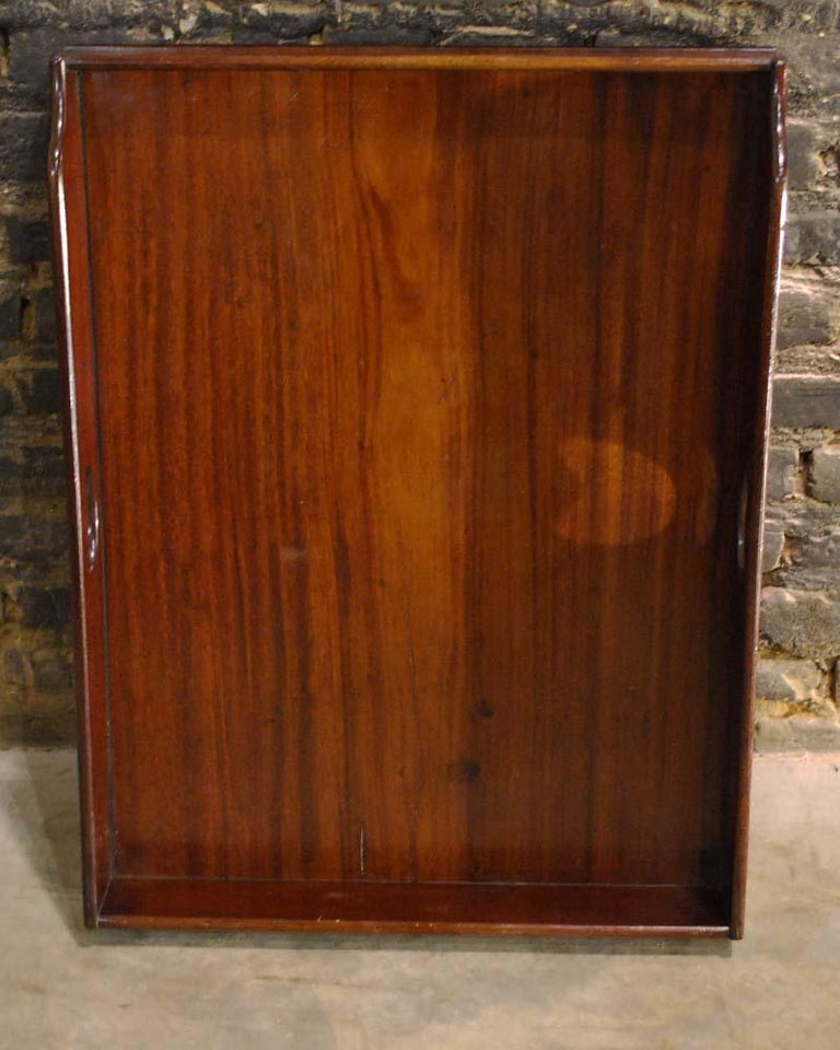 Antique English Victorian Butler's Tray Table in Mahogany on Folding Stand For Sale 3
