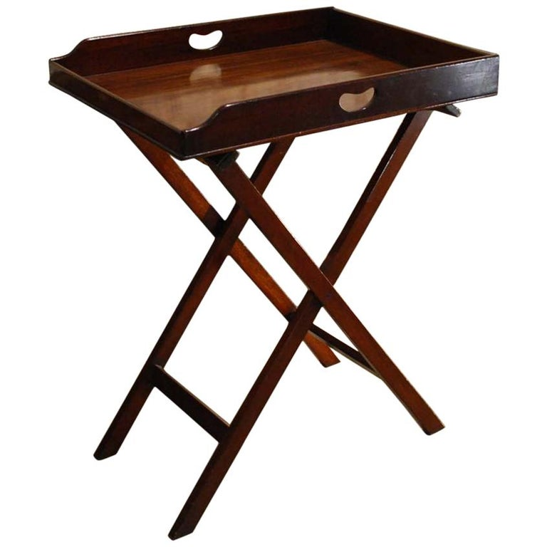 Antique English Victorian Butler's Tray Table in Mahogany on Folding Stand For Sale