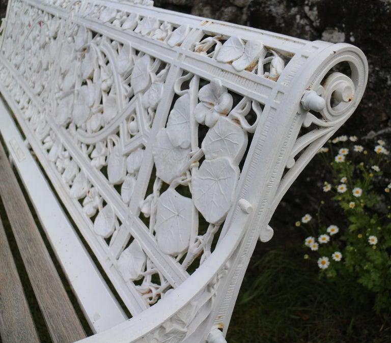 Antique English Victorian Coalbrookdale Nasturtium Pattern Garden Seat/Bench For Sale 5