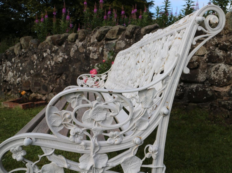 Antique English Victorian Coalbrookdale Nasturtium Pattern Garden Seat/Bench For Sale 6