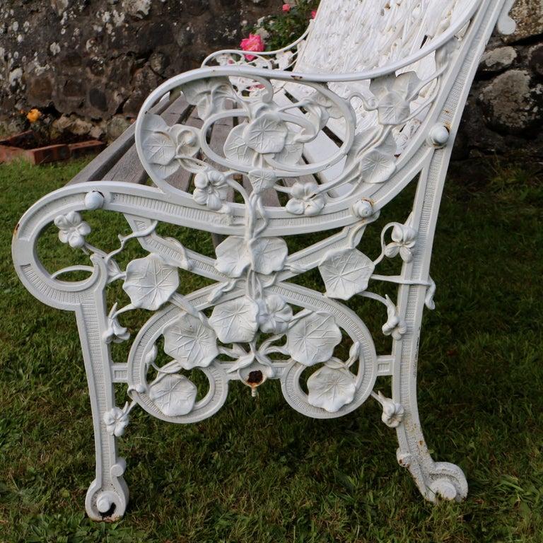 Antique English Victorian Coalbrookdale Nasturtium Pattern Garden Seat/Bench For Sale 7