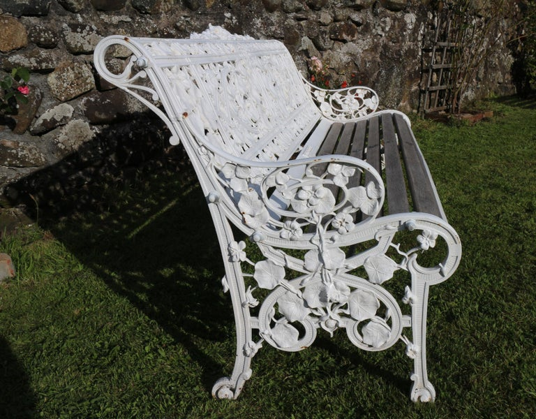 Antique English Victorian Coalbrookdale Nasturtium Pattern Garden Seat/Bench For Sale 8