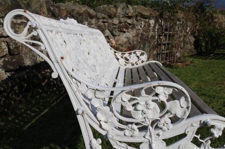 Antique English Victorian Coalbrookdale Nasturtium Pattern Garden Seat/Bench For Sale 9