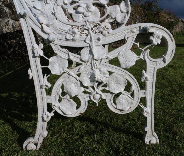 Antique English Victorian Coalbrookdale Nasturtium Pattern Garden Seat/Bench For Sale 10
