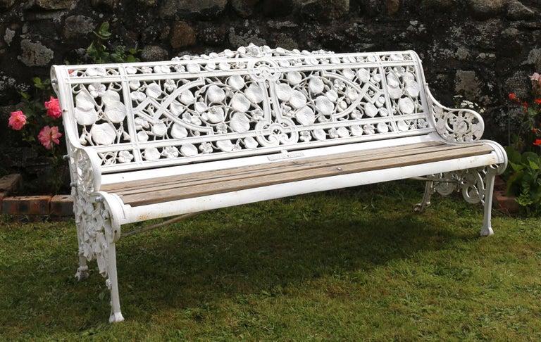 Antique English Victorian Coalbrookdale Nasturtium Pattern Garden Seat/Bench For Sale 11
