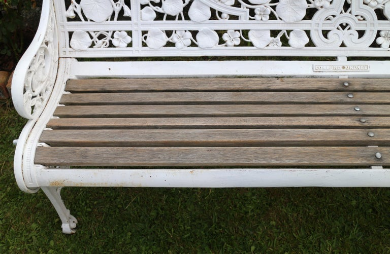 Antique English Victorian Coalbrookdale Nasturtium Pattern Garden Seat/Bench For Sale 12
