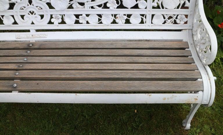 Antique English Victorian Coalbrookdale Nasturtium Pattern Garden Seat/Bench For Sale 13