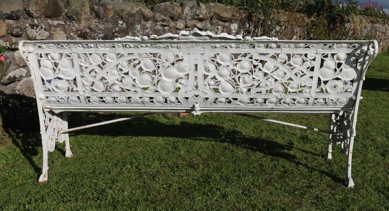 Antique English Victorian Coalbrookdale Nasturtium Pattern Garden Seat/Bench For Sale 14