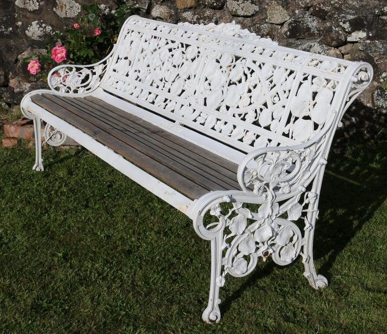 19th Century Antique English Victorian Coalbrookdale Nasturtium Pattern Garden Seat/Bench For Sale