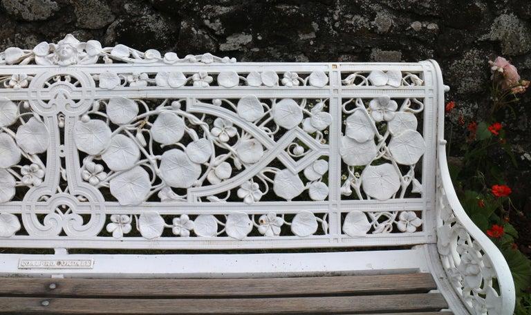 Iron Antique English Victorian Coalbrookdale Nasturtium Pattern Garden Seat/Bench For Sale