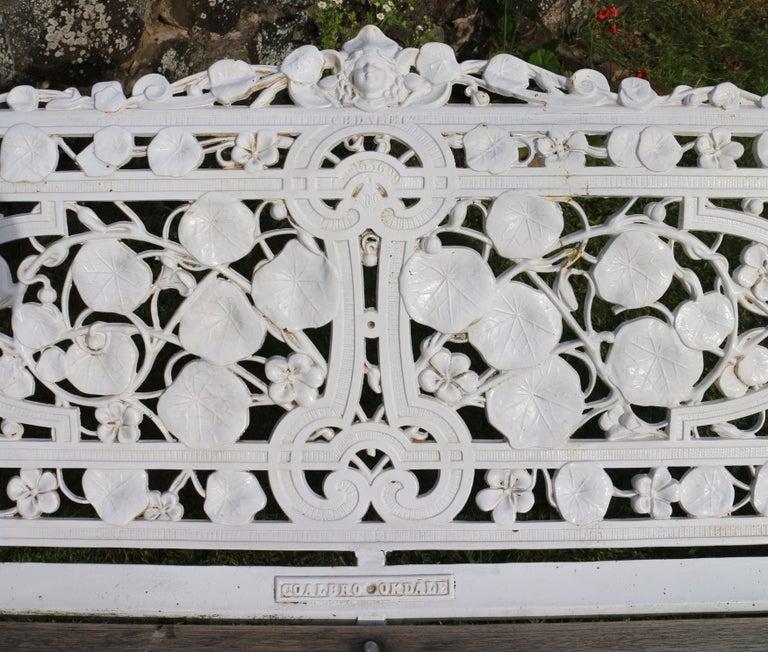 Antique English Victorian Coalbrookdale Nasturtium Pattern Garden Seat/Bench For Sale 1