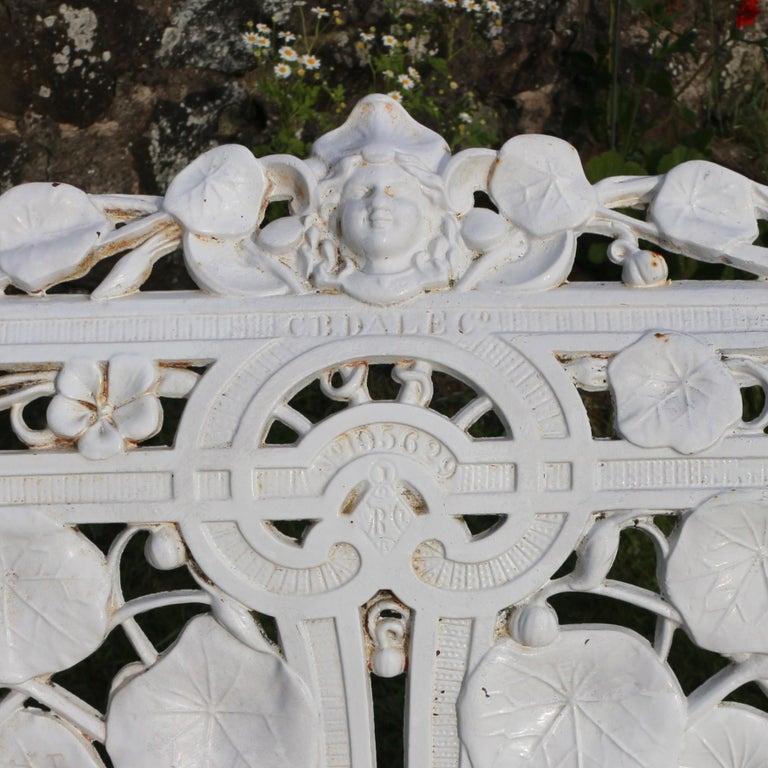 Antique English Victorian Coalbrookdale Nasturtium Pattern Garden Seat/Bench For Sale 2