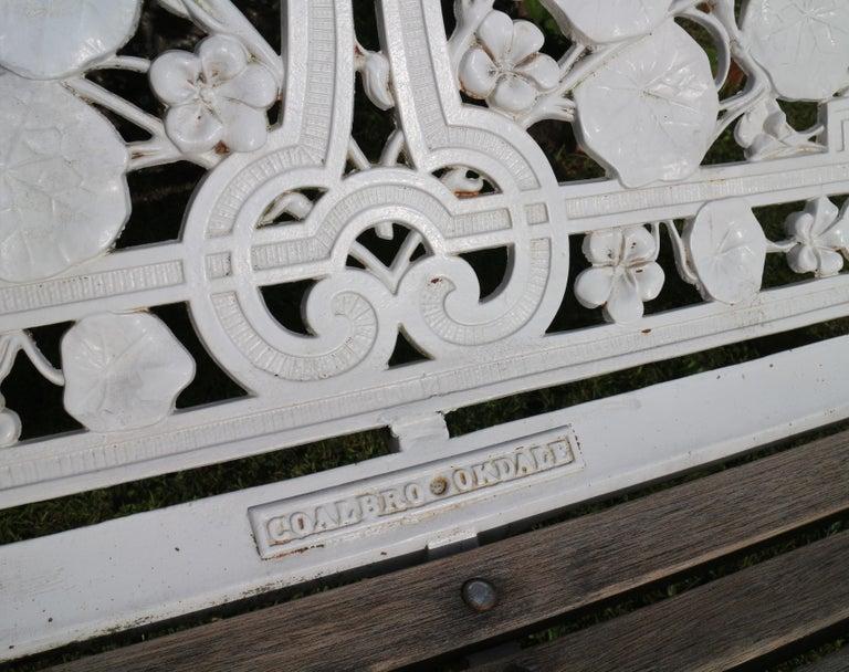Antique English Victorian Coalbrookdale Nasturtium Pattern Garden Seat/Bench For Sale 3