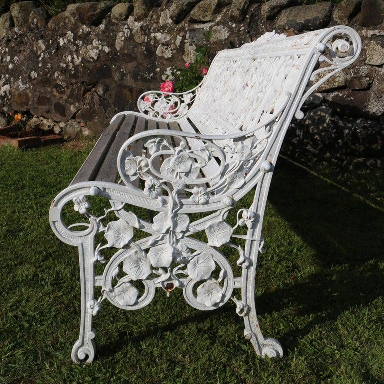 Antique English Victorian Coalbrookdale Nasturtium Pattern Garden Seat/Bench For Sale 4