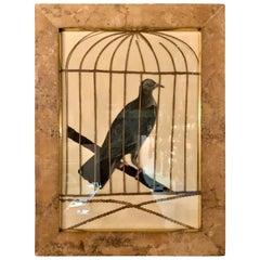 """Antique English Victorian Era Framed """"Decoupage"""" Bird Cage Print, circa 1890"""