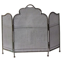 Antique English Victorian Fireplace Screen or Fire Screen, 19th Century
