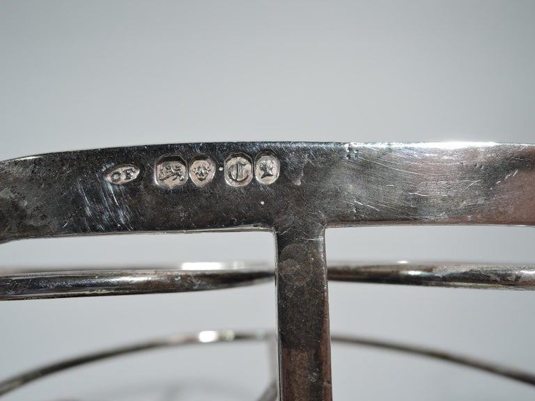 Antique English Victorian Georgian Sterling Silver Toast Rack 1