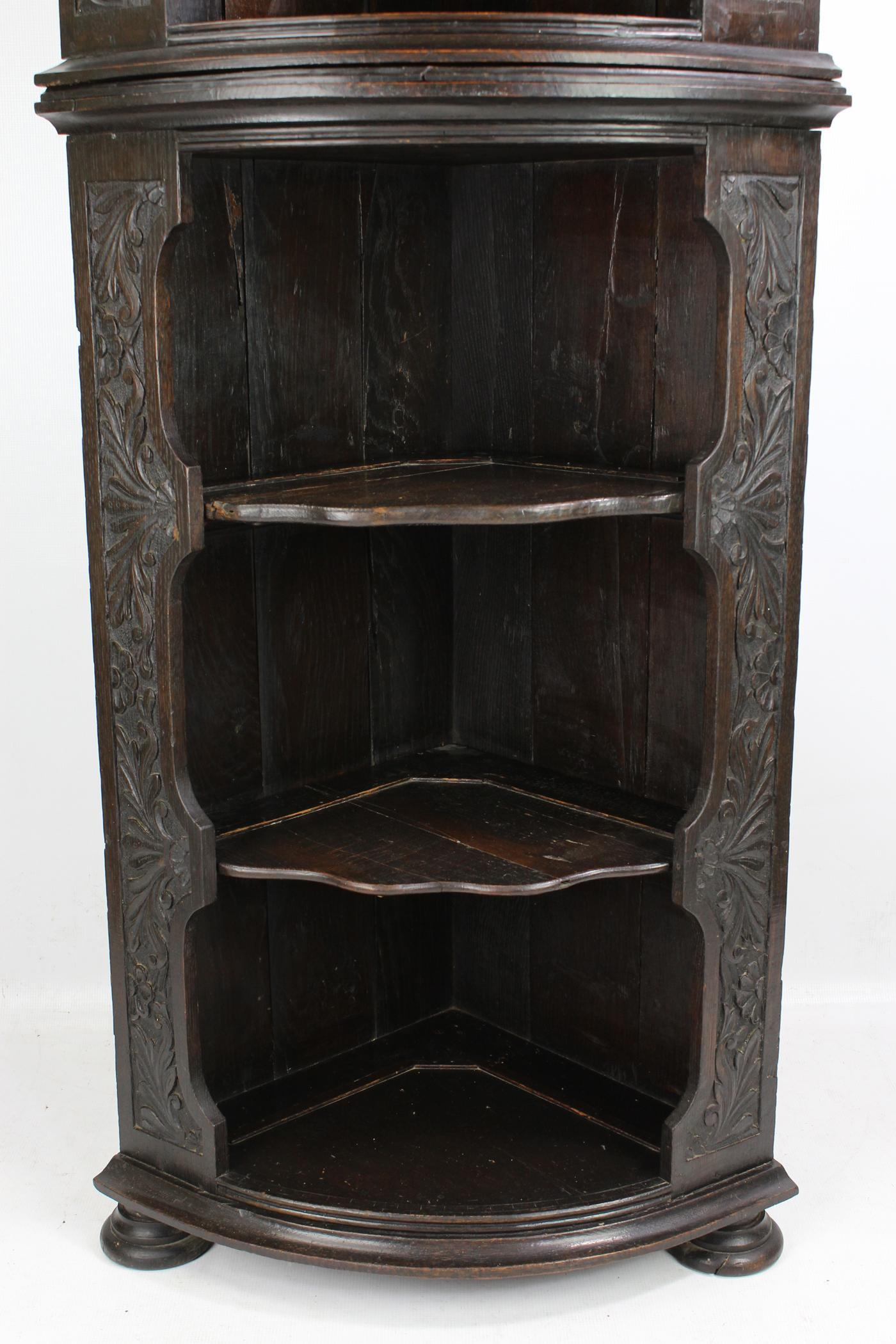 Antique English Victorian Gothic Revival Oak Corner Cupboard