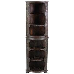 Antique English Victorian Gothic Revival Oak Corner Cupboard Bookcase Shelf Unit