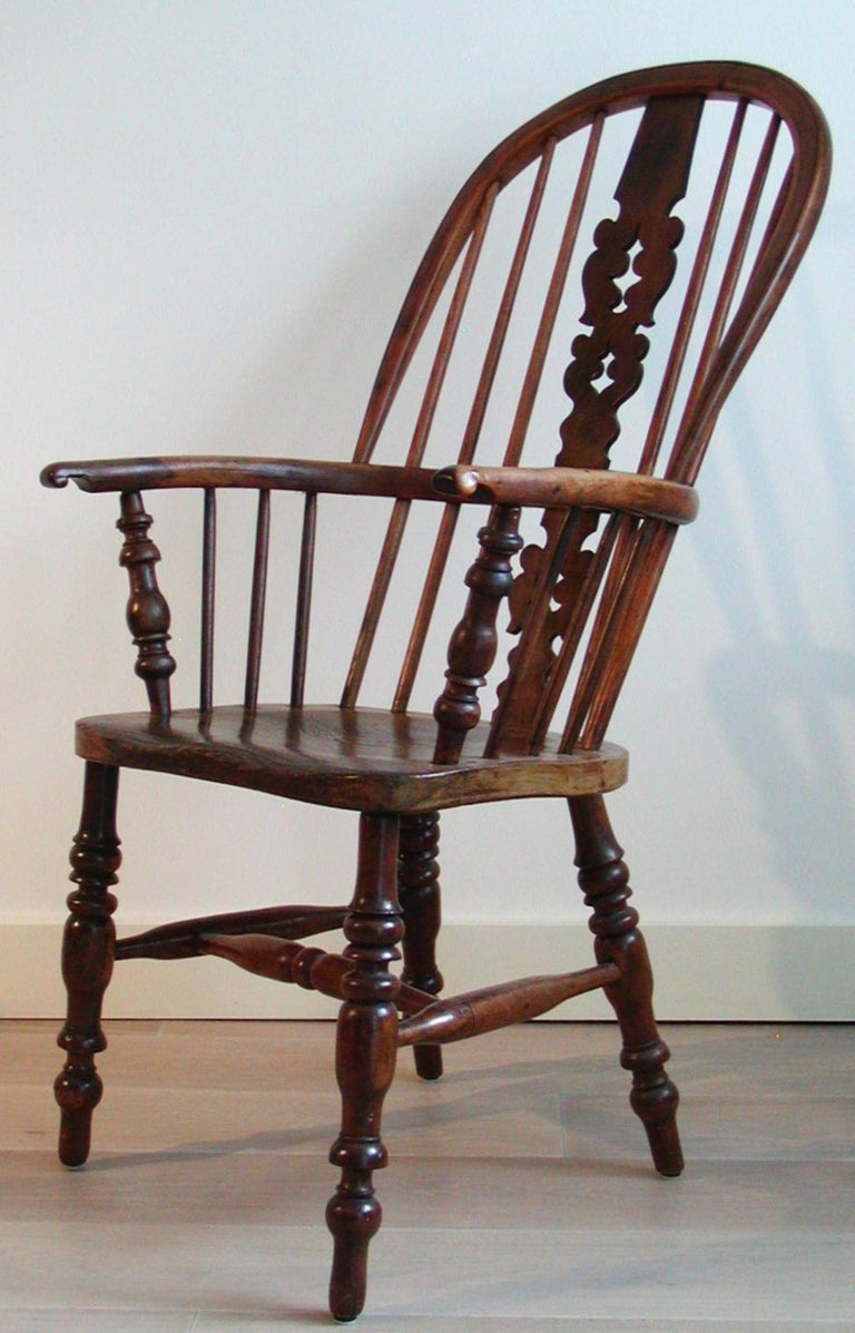 Antique English Victorian Large High-Back Windsor Armchair ...