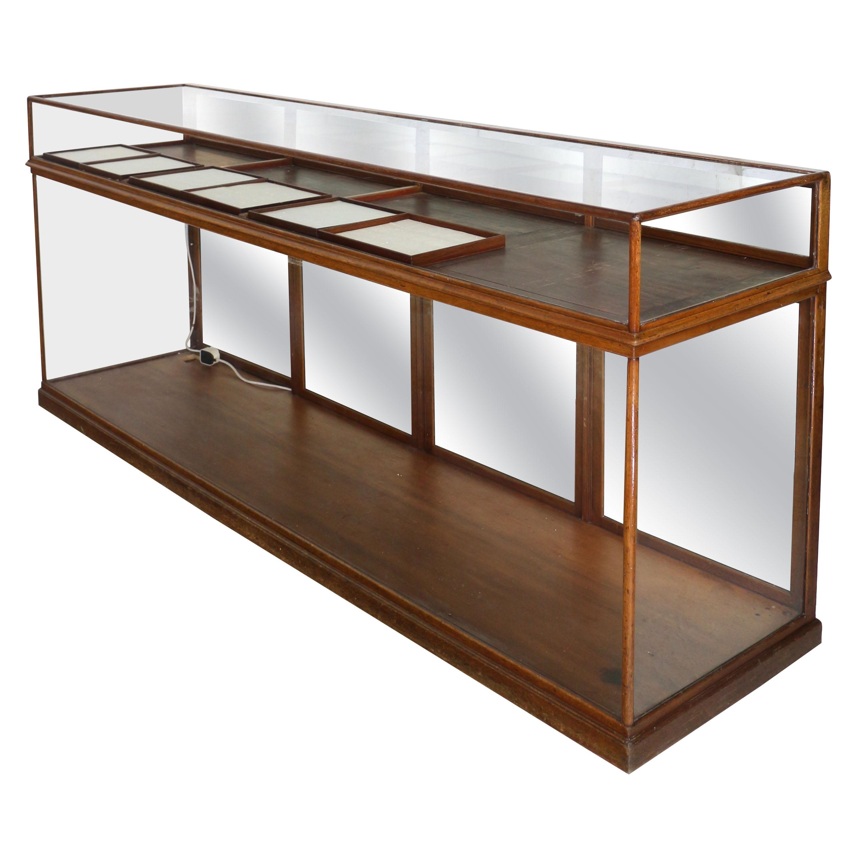 Antique English Victorian Mahogany Jewellery Display Shop Cabinet