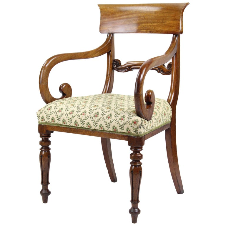 Marvelous Antique English Victorian Mahogany Open Armchair Desk Chair Ncnpc Chair Design For Home Ncnpcorg