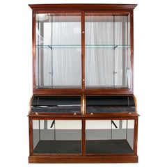Antique English Victorian Mahogany Shop or Jewellery Display Cabinet Fitting