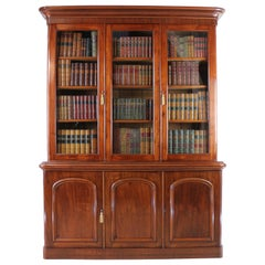 Antique English Victorian Mahogany Three-Door Bookcase